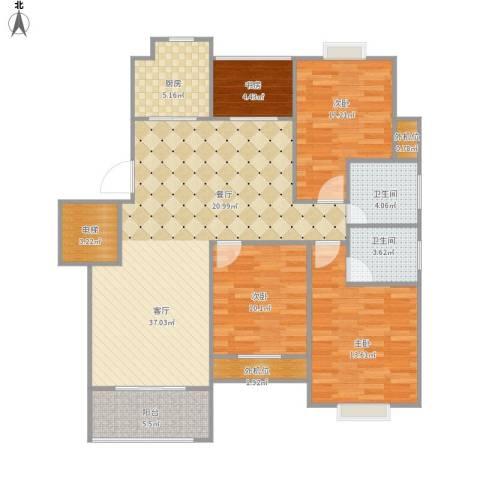 城际景苑4室1厅2卫1厨136.00㎡户型图