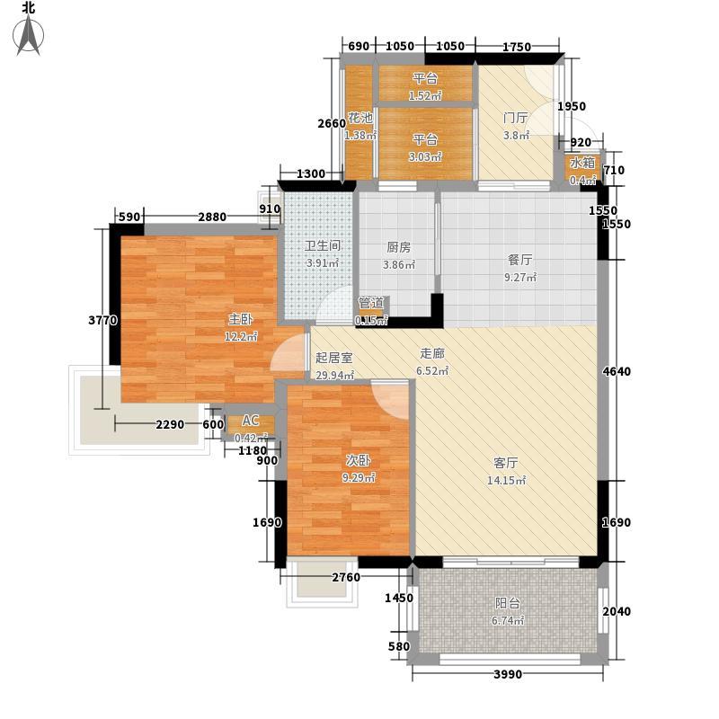 广州富力城87.83㎡A5栋4-16层3面积8783m户型