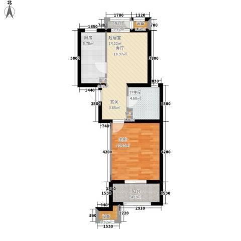 蓝海国际1室0厅1卫1厨66.00㎡户型图