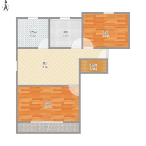 罗山五村2室1厅1卫1厨71.00㎡户型图