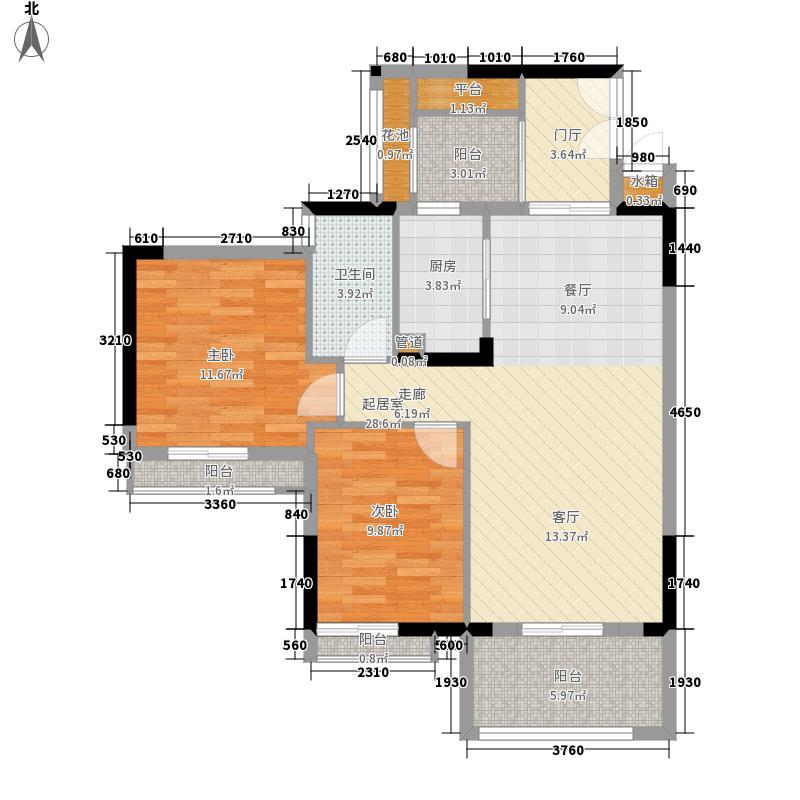 广州富力城87.60㎡A5栋3层3单位面积8760m户型