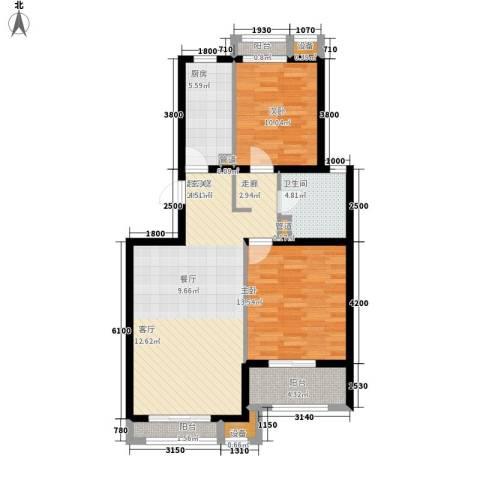 蓝海国际2室0厅1卫1厨104.00㎡户型图