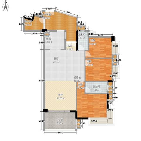 富力院士庭一期3室0厅2卫1厨171.00㎡户型图
