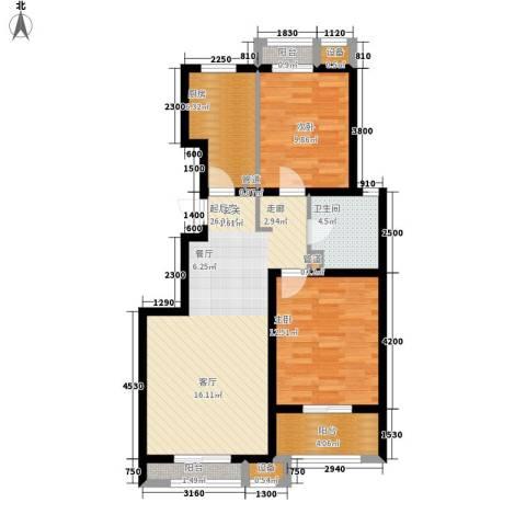 蓝海国际2室0厅1卫1厨100.00㎡户型图
