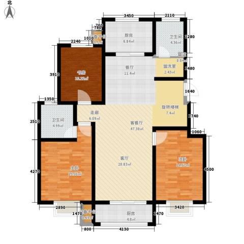 水印莱茵3室1厅2卫2厨157.00㎡户型图
