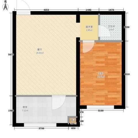 金川新城1室1厅1卫1厨53.00㎡户型图
