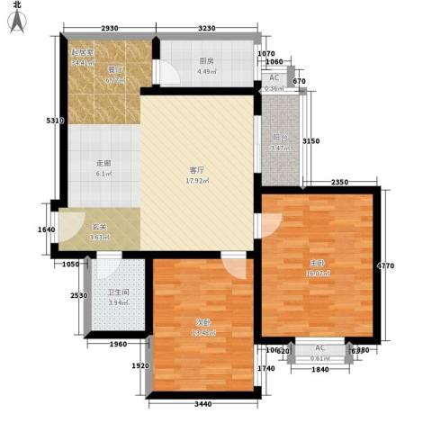 天伦盛世2室0厅1卫1厨88.00㎡户型图