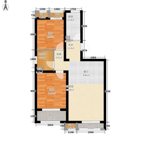 蓝海国际2室0厅1卫1厨94.00㎡户型图