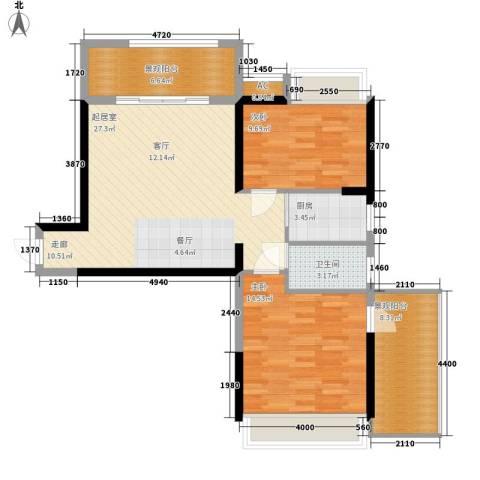 长安大街三号2室0厅1卫1厨81.00㎡户型图
