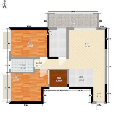 长安大街三号3室0厅1卫1厨96.00㎡户型图