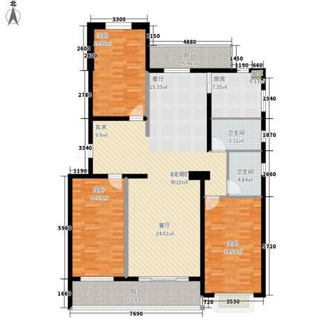 绩业家园3室0厅2卫1厨154.00㎡户型图
