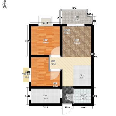 颐馨花园2室1厅1卫1厨65.00㎡户型图