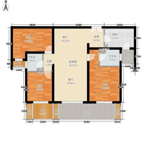 中海御湖公馆3室0厅2卫1厨115.00㎡户型图