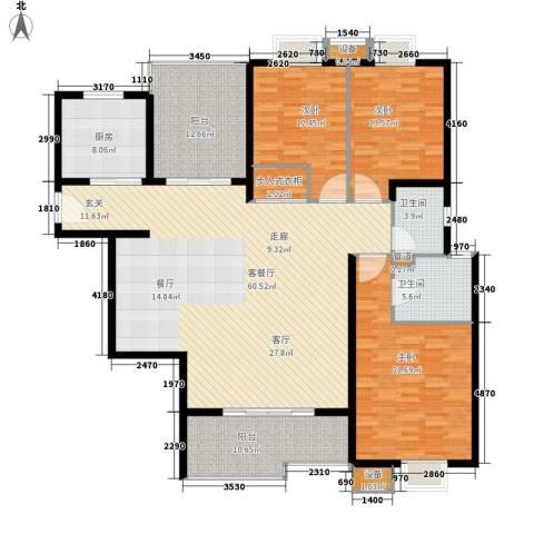 民生新世界3室1厅2卫1厨170.00㎡户型图