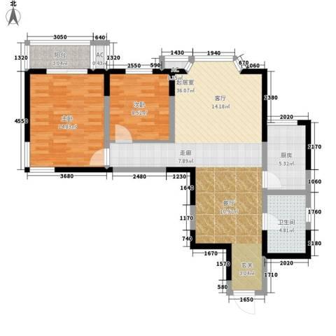 罗曼公社2室0厅1卫1厨85.00㎡户型图