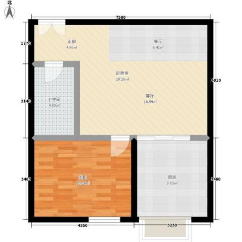 中菲香槟城1室0厅1卫1厨64.00㎡户型图