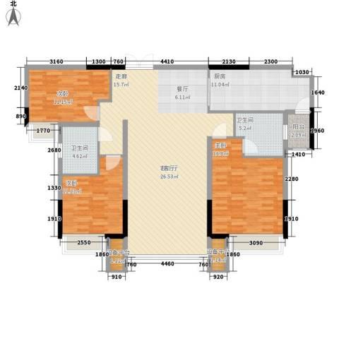珠江都荟3室1厅2卫1厨127.00㎡户型图