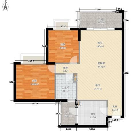 南湖半岛花园2室0厅1卫1厨90.00㎡户型图