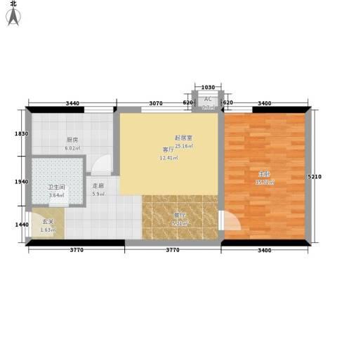 罗曼公社1室0厅1卫1厨58.00㎡户型图
