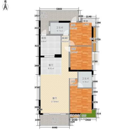 珠江都荟3室1厅2卫1厨128.00㎡户型图