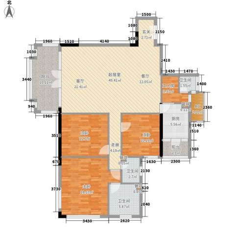 南湖半岛花园3室0厅3卫1厨139.00㎡户型图