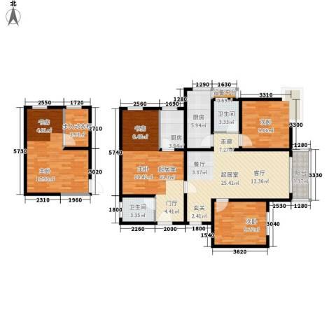 友谊小区3室0厅2卫2厨123.00㎡户型图