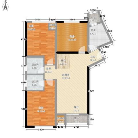 嘉润蓝湾3室0厅2卫1厨131.00㎡户型图