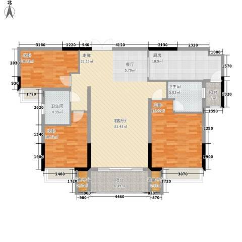 珠江都荟3室1厅2卫1厨126.00㎡户型图