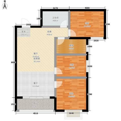 凤锦苑3室0厅1卫1厨95.00㎡户型图