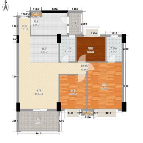 新都城市花园3室1厅2卫1厨115.00㎡户型图
