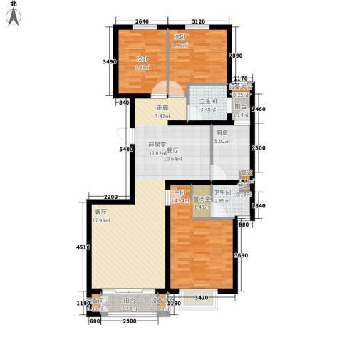 锐点嘉苑3室0厅2卫1厨121.00㎡户型图