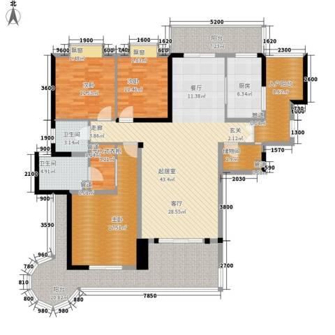 盛南领地3室0厅2卫1厨170.00㎡户型图
