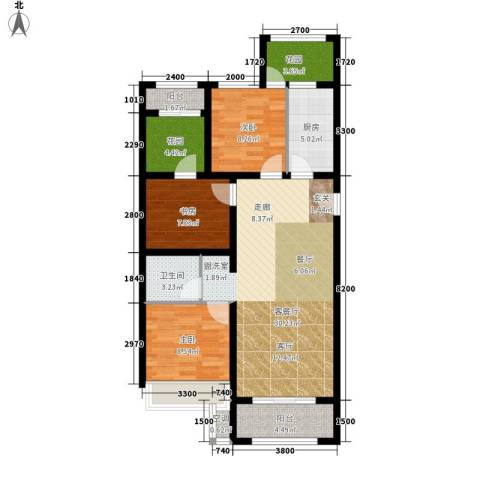 五琴花园3室1厅1卫1厨114.00㎡户型图