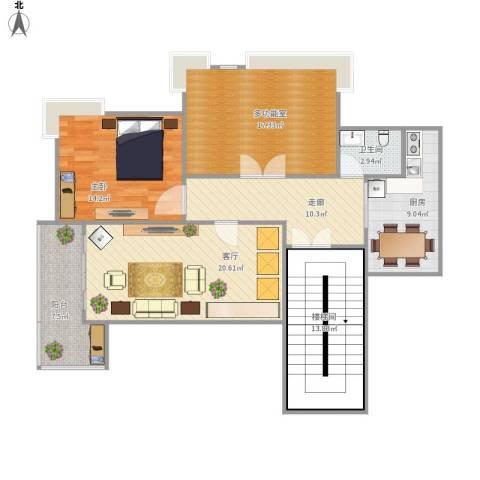 百家乐园1室1厅1卫1厨129.00㎡户型图