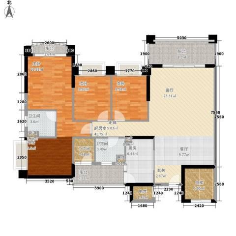 锦绣新天地3室0厅2卫1厨140.00㎡户型图
