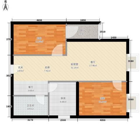 凤锦苑2室0厅1卫1厨78.00㎡户型图