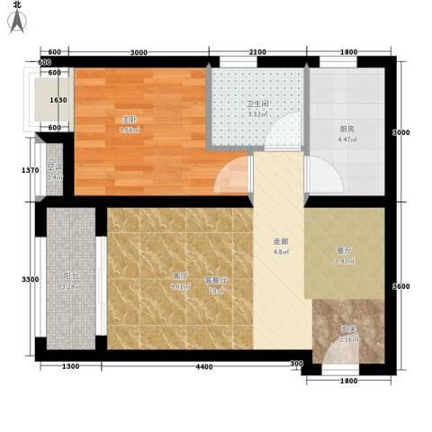 五琴花园1室1厅1卫1厨59.00㎡户型图
