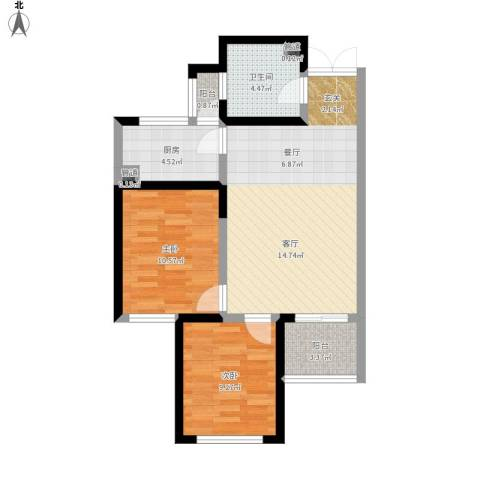 世园大公馆2室1厅1卫1厨84.00㎡户型图