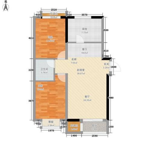 兴泰里2室0厅1卫1厨80.30㎡户型图