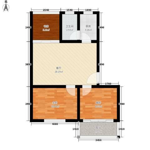共和怡苑3室1厅1卫1厨64.00㎡户型图