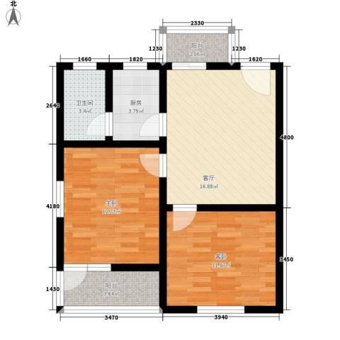 共和怡苑2室1厅1卫1厨64.00㎡户型图