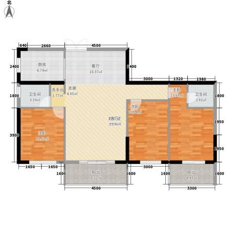 新世界家园3室0厅2卫1厨139.00㎡户型图