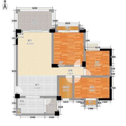 华南碧桂园别墅3室0厅1卫1厨107.00㎡户型图