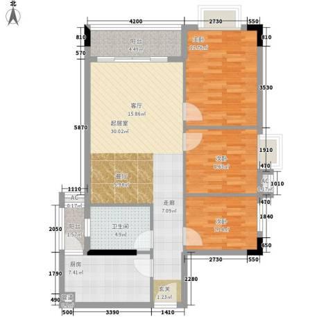 白天鹅公安宿舍3室0厅1卫1厨88.00㎡户型图