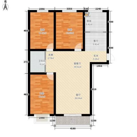 景观花园三期3室1厅1卫1厨120.00㎡户型图