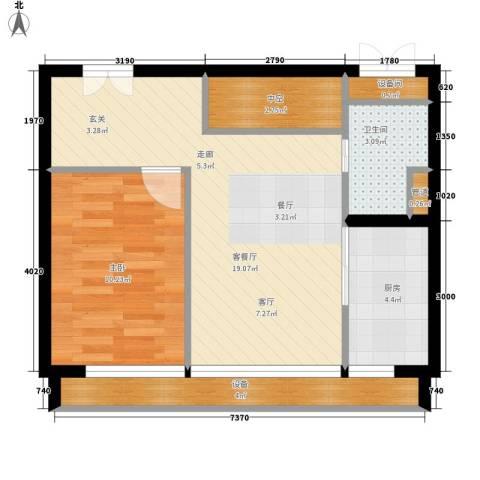 中弘北京像素1室1厅1卫1厨51.87㎡户型图