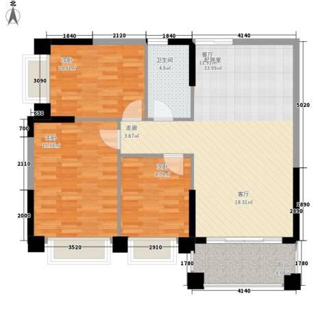 锦绣新天地3室0厅1卫0厨90.00㎡户型图