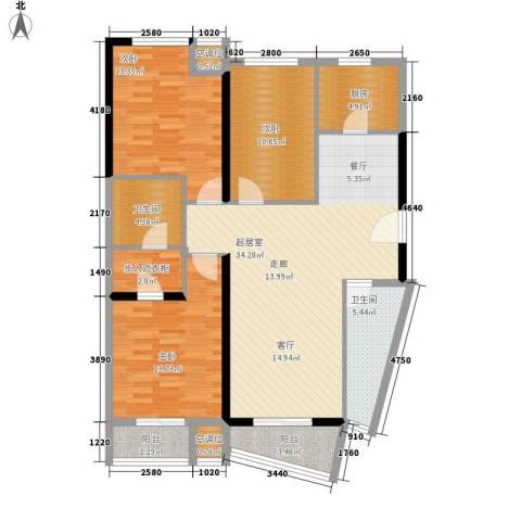 嘉润蓝湾3室0厅2卫1厨138.00㎡户型图