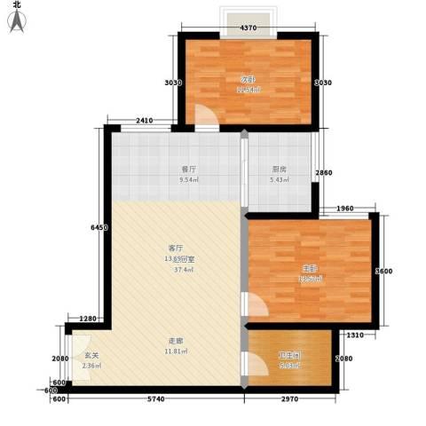 中菲香槟城2室0厅1卫1厨82.00㎡户型图