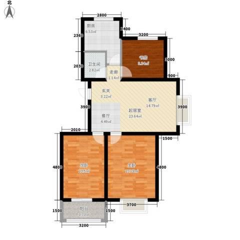 安联水晶城3室0厅1卫1厨92.00㎡户型图